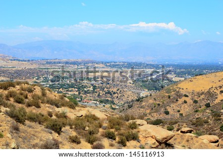 East overlook of San Fernando Valley from Rocky Peak Trails, Santa Susana Mountains, CA - stock photo
