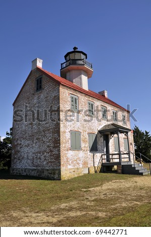 East Point Lighthouse, New Jersey Vertical With Copy Space - stock photo