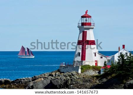 East Quoddy Head Lighthouse, New Brunswick. - stock photo