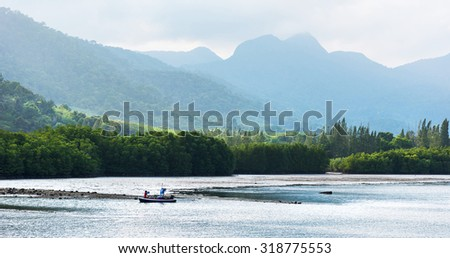East wild coast view of the Koh Chang island, Thailand - stock photo