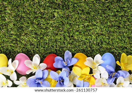 Easter background, border, painted eggs - stock photo