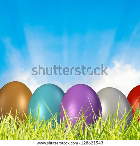 Easter Background,Mixed Media With 3D Render Easter Eggs - stock photo