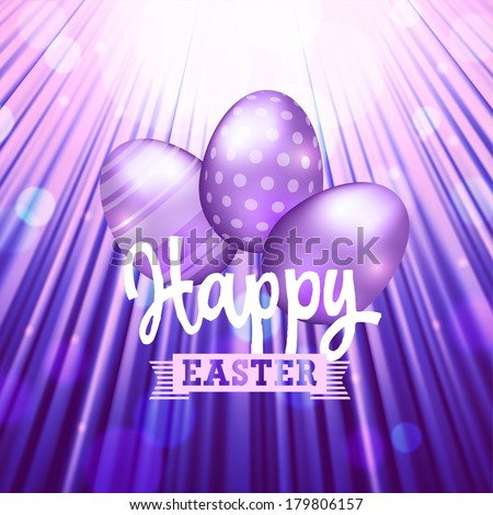Easter background of purple color with eggs and sun rays. Raster version. - stock photo