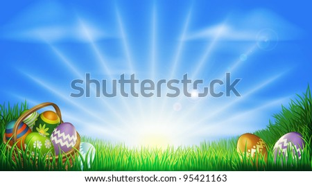 Easter background with decorated Easter eggs and Easter eggs in basket in a sunny field - stock photo