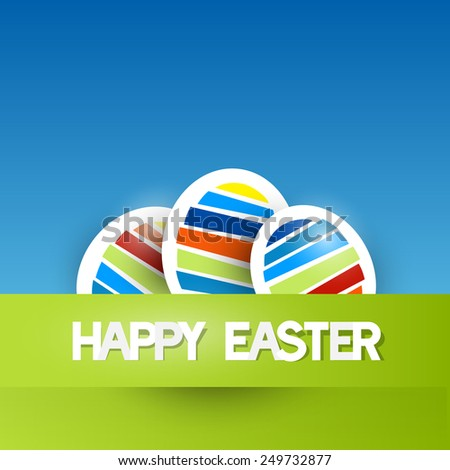 Easter Background with Paper Eggs - stock photo