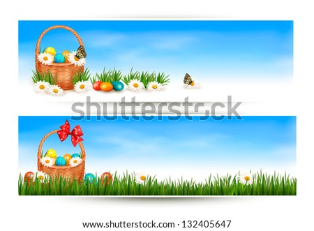 Easter banners with Easter eggs in basket and flowers. Raster version of vector - stock photo