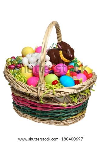 Easter Basket full of Easter Treats - stock photo