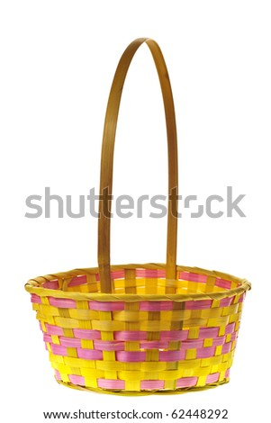 Easter basket isolated on pure white background - stock photo