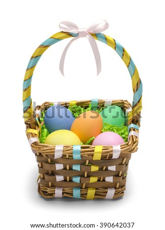Easter Basket with Colored Eggs Isolated on White Background. - stock photo