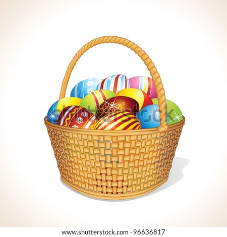 Easter Basket with Painting Eggs - stock photo