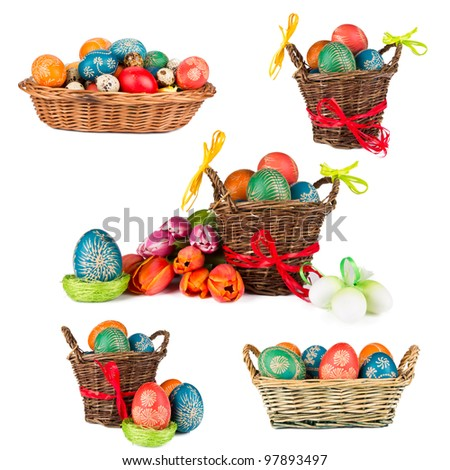 Easter baskets collection, isolated on white background - stock photo