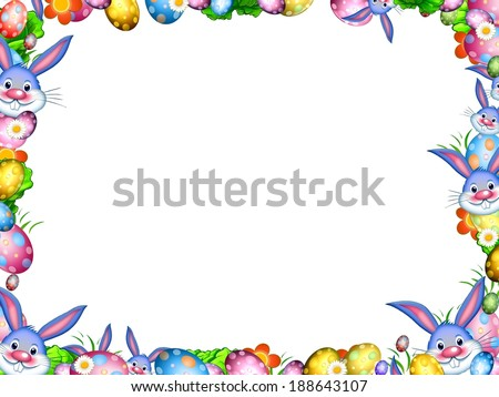 easter bunnies with colorful eggs and flowers border frame isolated on white - stock photo