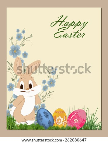 Easter bunny and easter eggs . - stock photo