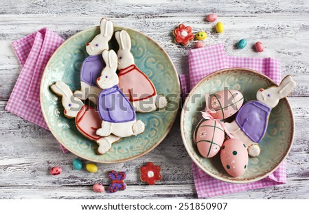 Easter bunny cookies. Shortbread cookies. - stock photo