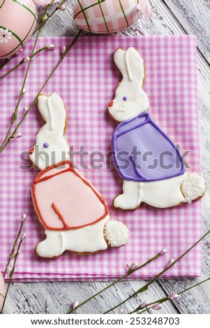 Easter bunny cookies. Shortbread cookies - stock photo