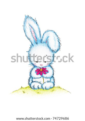 Easter bunny holding pink flower on green lawn - stock photo