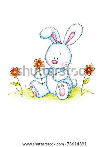 Easter bunny holding red flower on green lawn - stock photo