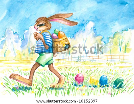 Easter bunny losing his easter eggs.Picture I have painted by myself with watercolors. - stock photo