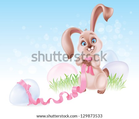 Easter Bunny on the Egg hunt - stock photo