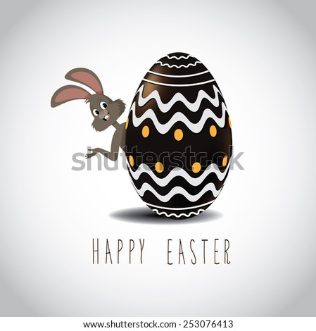 Easter bunny peeking from behind chocolate Easter egg with fancy designs. Royalty free stock illustration for greeting card, marketing, poster, design, blog, invitation, social media - stock photo