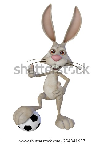 Easter bunny the football player - stock photo