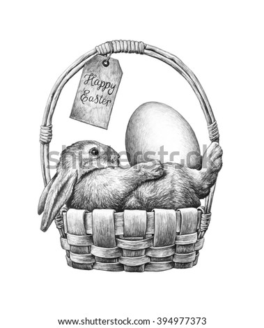 Easter bunny with Easter eggs in a wicker basket. Pencil drawing illustration. - stock photo