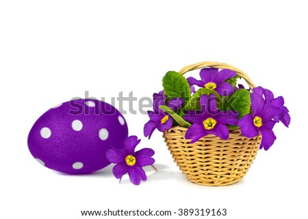 Easter card: Easter egg and spring flowers isolated on white background - stock photo
