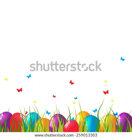 Easter card with eggs on green grass.  - stock photo