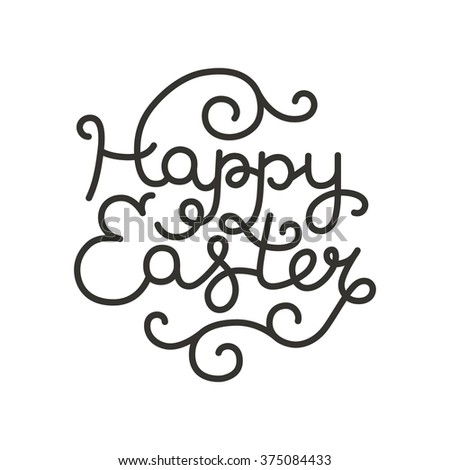 Easter card with hand drawn lettering on white background for design greeting cards - stock photo
