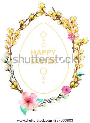 Easter card with wreath of willow, watercolor illustration with flowers and text - stock photo