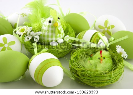 easter chicken and color eggs - stock photo