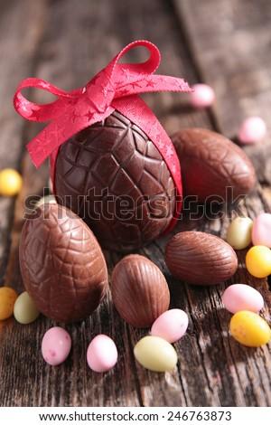 easter chocolate egg - stock photo