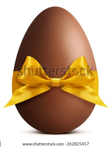 Easter chocolate egg with golden ribbon bow - stock photo