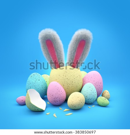 Easter chocolate eggs with bunny ears. 3D Illustration - stock photo