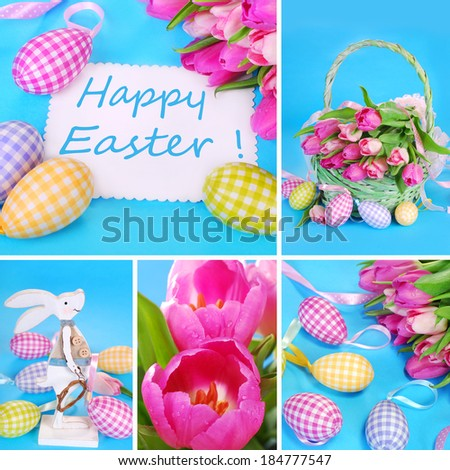 easter collage with eggs ,basket ,decorations and fresh tulips in pastel colors - stock photo