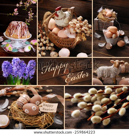 easter collage with traditional food and rustic decorations on wooden background  - stock photo
