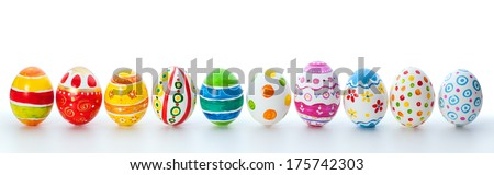 easter color eggs over white background - stock photo