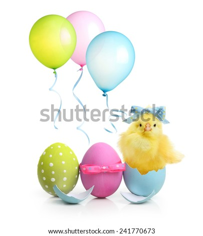 Easter colorful eggs, balloons and cute little chicken isolated on white background - stock photo
