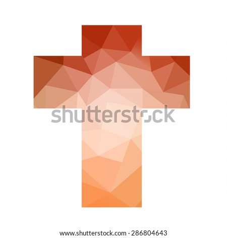 Easter cross clip art isolated on white background, low poly red orange triangle cross design, inspirational church bulletin graphic art design pattern, stained glass style art design - stock photo