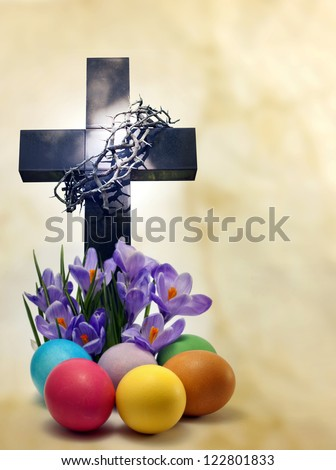 Easter cross crocus and eggs abstract unique concept metaphor - stock photo