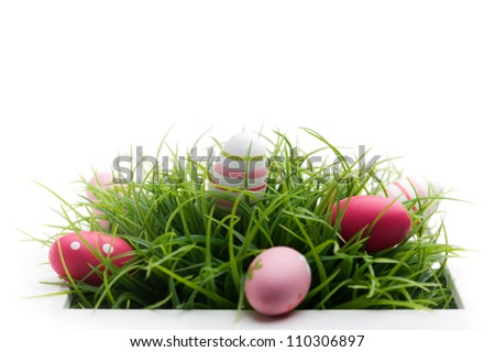 Easter decoration on white isolated background, selective focus - stock photo