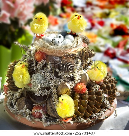 Easter. Easter composition with eggs and chickens. - stock photo
