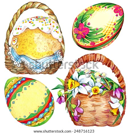 Easter. egg and basket. Decorative elements for cards and greetings background with Easter. watercolor - stock photo