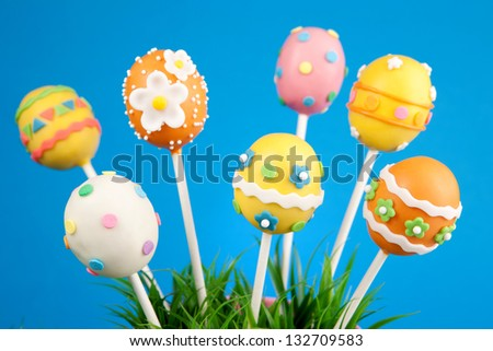 Easter egg cake pops - stock photo