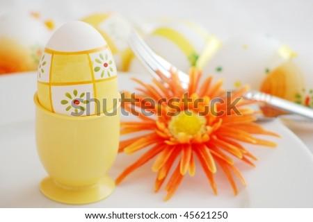 Easter Egg , Fork and Blossom - stock photo