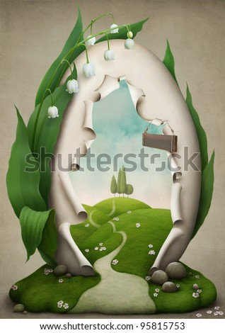 Easter egg  the way to a holiday - stock photo