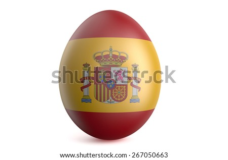 Easter egg with the flag of the Spain isolated on white background - stock photo