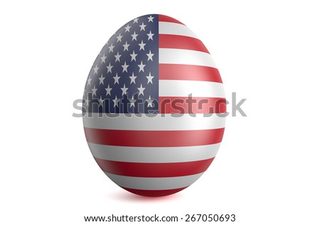 Easter egg with the flag of the USA isolated on white background - stock photo