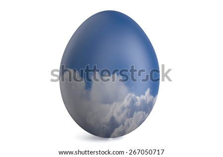Easter egg with the sky and clouds isolated on white background - stock photo