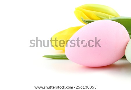 Easter egg with tulip flowers on a white background. - stock photo